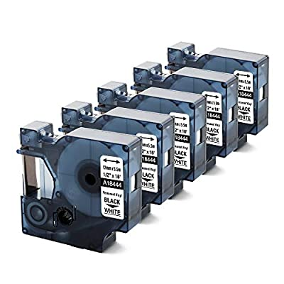 """AOJE Compatible Label Tape Replacement for Dymo Rhino 18444 12mm 1/2"""" X 18' Vinyl (S0718600) Black on White Refills, Permanent Industrial Tapes Cartridge for Rhino 4200, 5000, 5200, 6000, 5-Pack"""