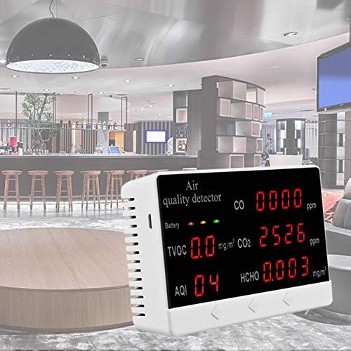 PAKASEPT Luftqualitätsmonitor Digitales HCHO, TVOC, CO2, AQI, Formaldehyd-Detektor Hygrothermograph Kohlendioxid-Tester Luftqualitätsmonitor Gasanalysator