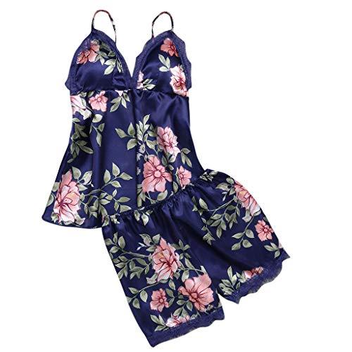 Proumy Pijama Azul Floral Mujer Verano Bata Sexy de Talla Grande Conjunto de Ropa de Dormir Cuello V Transparente Camisola Larga con Calzoncillos Cortos Traje de Noche Vestido de Cama Dos Piezas