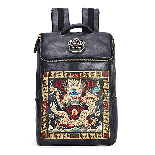 JISHIYU Leather Backpack Laptop Backpack Shoulders Package Chinese Style Embroidery Bag Students Daypack for Travel, Light Weight Waterproof, Special Gift 30x13x45 cm (Color : Gold)