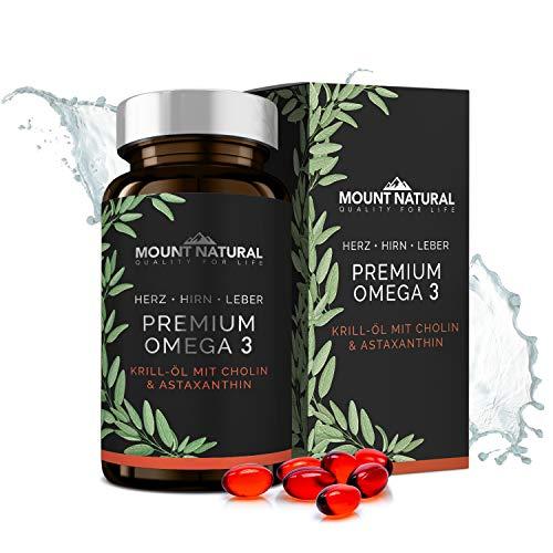 MOUNT NATURAL KRILLÖL - 1180mg mit hochdosierten Omega-3: EPA,DHA, Cholin & Astaxanthin. Hochwertiger als Fischöl...