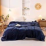 "Bownew Extra Large Flannel Blanket Luxury Fleece Velvet Blankets 300 GSM Plush Microfiber Bedding - 120"" x 120"" (Navy)"