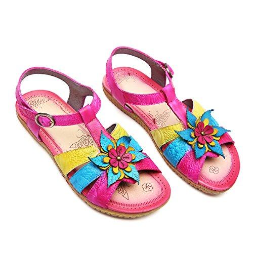 gracosy Sandalias de Las Mujeres de Verano Zapatos Botón de Cuero Plano...