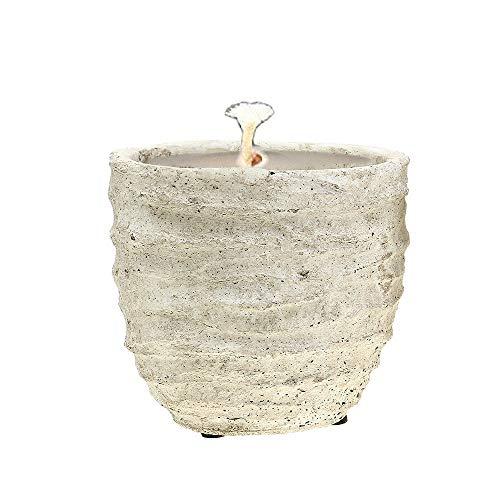 Der Perlenspieler® - Shabby Kerzenschmelzer im Landhausstil-Crème in Antik-Look-In- und Outdoor-3 mm Glasfaserdocht-12 cm x 12 cm