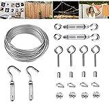 HOMPER Kit de barandilla de cables, kit de alambre, kit de rollo de valla, con revestimiento de PVC, cuerda de acero inoxidable 304 resistente, tensor de alambre de hebilla