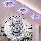 Downlight LED de Cristal, luz de Techo empotrada de 3W con Apertura de 5-8 cm, Foco Decorativo LED para Pasillo Creativo en Pasillo, Pasillo, Sala de Estar, Dormitorio(RGB)