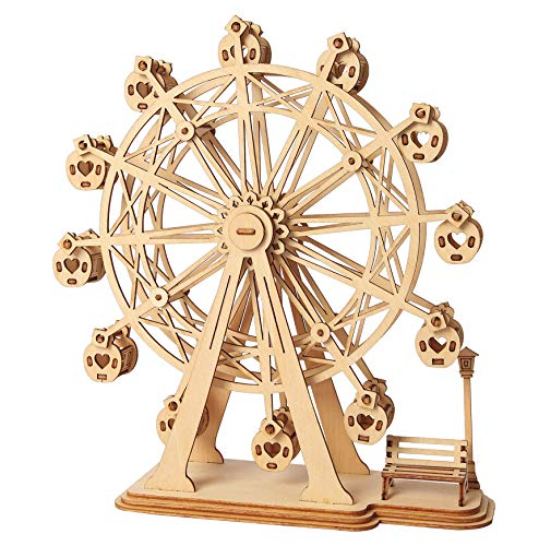 Hands Craft Ferris Wheel DIY 3D Wooden Puzzle Model Kit - Laser Cut Wooden Puzzle Craft Kit, Brain Teaser and Educational STEM DIY Building Model Toy (TG401)
