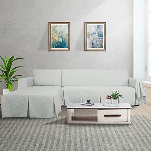 MAXIJIN Schnittsofabezug L-förmiger Sofabezug 2-teiliger Sofabezug aus 100% Polyester-Leinen mit Rüschenverdickter Hundeschutzhülle für das Wohnzimmer (3 SeatandRightChaise, Grey)