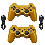 Navor 2 Packs Generic Wireless Bluetooth 6-Axis Gamepad Controllers Compatible for Playstation 3 - with 2 pcs Charging Cables - (Gold)