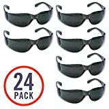 24 Pack of Tinted Safety Glasses (24 Protective Shaded Safety Goggles) UV Resistant Eye Protection - Perfect for Construction, Shooting, Lab Work, and More!