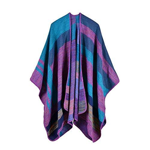 BAOAO dames accessoires sjaals, poncho's en mutsen, kasjmiersjaal, gestreept, winterponcho, gebreide kleding, damesjurk