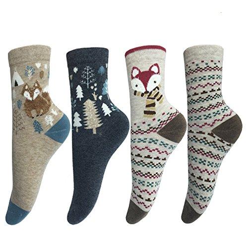 LOTUYACY Cute Animal Designe Women's Comfortable Cotton Crew Casual Socks - 4 Pack