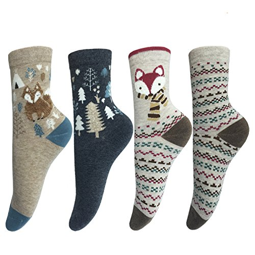 LOTUYACY Cute Animal Designe Women's Comfortable Cotton Crew Casual Socks - 4 Pack