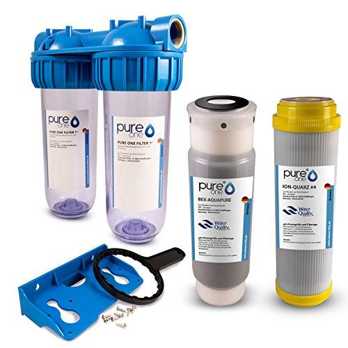 PureOne EAS2 EisenAktiv-Set Doppel-Filteranlage 10 Zoll. Enteisenung, Chlor, Geschmack und Schadstoffe. Filtergehäuse mit Quarz- und Aktivkohle Filterkartusche. Hauswasserwerk, Brunnen