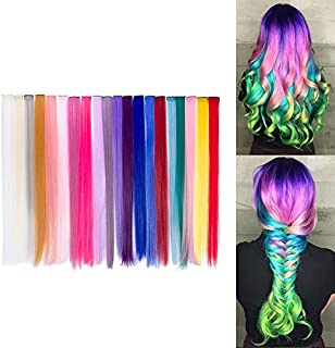 Beauty7 20pcs 20 inches Set de 20 Colores Pelucas Lacio Trenzas Color Extensiones de Cabello Clip
