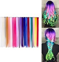 Beauty7 20pcs 20 inches Set de 20 Colores Pelucas Lacio Trenzas Color Extensiones de Cabello Clip Sintético Hair Extensions Accesorios de Pelo DIY Decoración Cosplay Fiestas Party