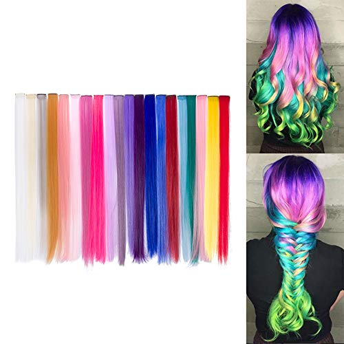 Beauty7 20pcs 20 inches Set de 20 Colores Pelucas Lacio Trenzas Color Extensiones de Cabello Clip...