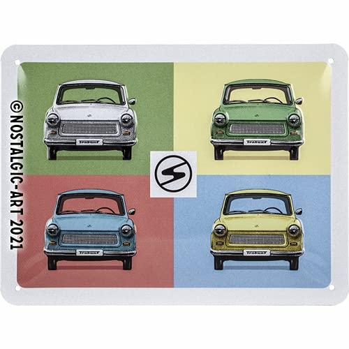 Nostalgic-Art Retro Blechschild Trabant – Pop Art – Nostalgie Geschenk-Idee, aus Metall, Vintage-Design zur Dekoration, 15 x 20 cm