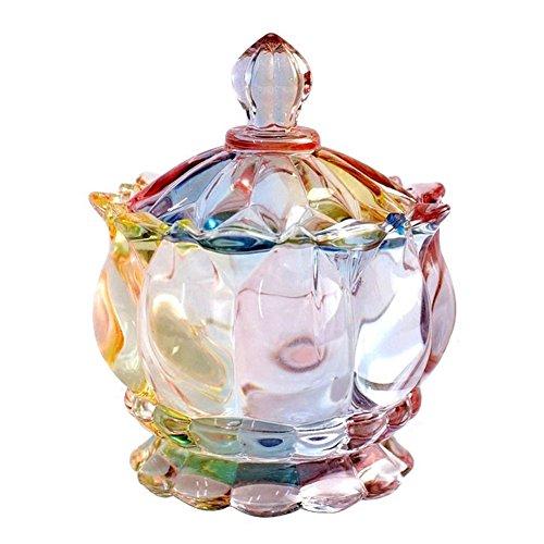 Fittoway Crystal Rainbow Glas Süßigkeitenbehälter mit Deckel Fuß Apotheker-Schmuck-Box Süßigkeiten-Vorratsdose 19,8 ml