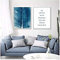キャンバスの壁の芸術、青い花の葉テクスチャポスター引用リビングルームの装飾のためのキャンバスの絵画画像フレームなし