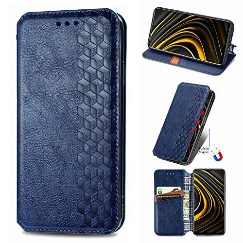 NEINEI Handyhülle für Asus Zenfone 8 Hülle,Premium PU/TPU Lederhülle Klapphülle mit Magnetisch,Kartenschlitz,Vintage Handytasche Schutzhülle Flip Folio Cover Hülle,Blau
