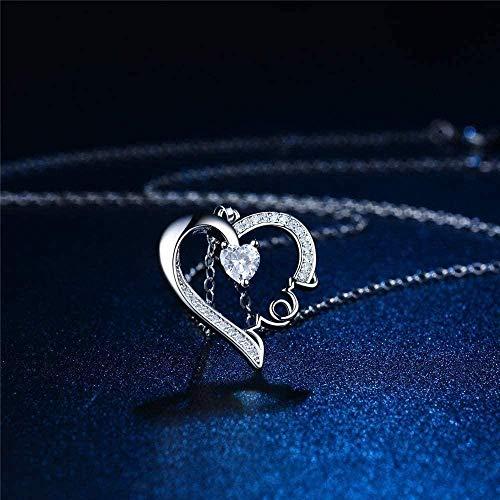 WYDSFWL Collar Collar de Platino para Mujer (incluida la Cadena) Diamantes en Forma de corazón de Color Madre Collar de Regalo del día de la Madre