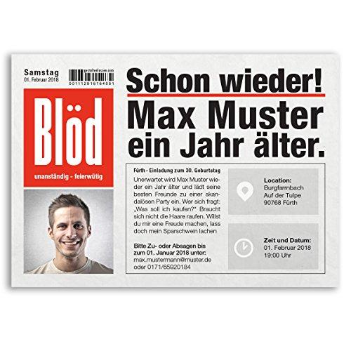 (10 x) Einladungskarten Geburtstag Zeitung Nachrichten Meldung Magazin Einladungen