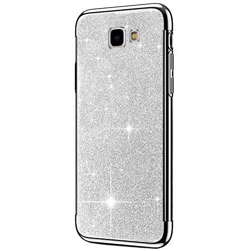 Hpory Cover Samsung J6 Plus 2018, Custodia Samsung Galaxy J6 Plus 2018 - Glitter Brillante Silicone Custodia Morbido Gel TPU Cover Back Case Antiurto Custodia in Protettiva[Shock-Absorption], Argent