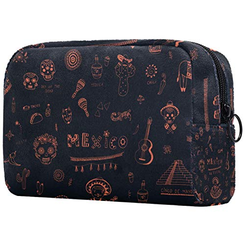 Bolsa de maquillaje personalizada para brochas de maquillaje portátil para mujer, bolso de mano, organizador de viaje, símbolos de México