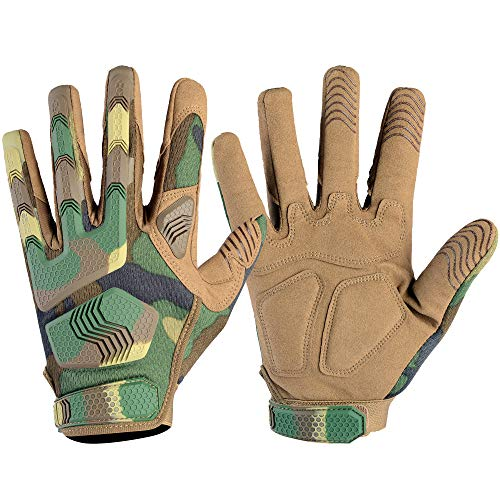 Wtactful Fingerhandschuhe für Motorrad, Radfahren, Klettern, Camping, Jagd, Wandern L Woodland