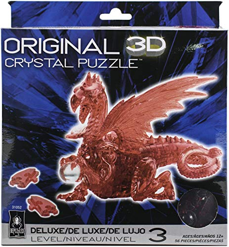 Bepuzzled Deluxe 3D Crystal Jigsaw Puzzle - Red Dragon DIY Assembly Brain Teaser, Fun Model Toy Gift Decoration for Adults & Kids Age 12 & Up, 56Piece (Level 3)
