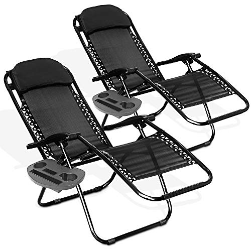 LIVIVO Black Gravity Textoline Chair Table Set With Side Tray With Adjustable Head Rest Garden Recliner Lounger Furniture Neat Tidy Contemporary Outdoor Living Garden Conservatory Patio
