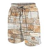 KOiomho Hombres Personalizado Trajes de Baño,Muro De Piedra De Piedras Naturales En Diferentes Tamaños Tonos De Chapa Rústica Marrón Acogedor Decorativo,Casual Ropa de Playa Pantalones Cortos