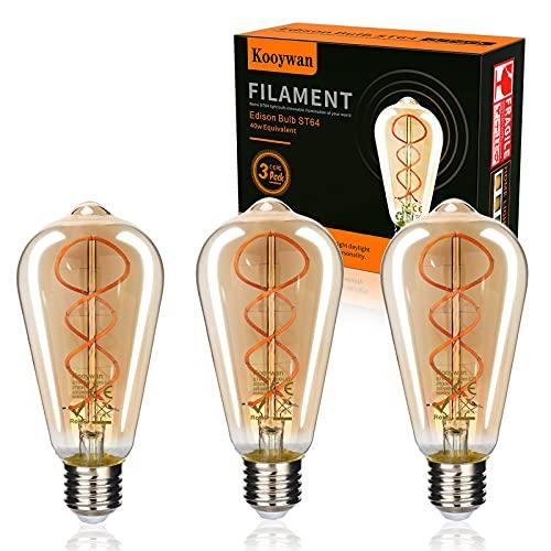 Kooywan Edison Glühbirne E27 LED Fassung 4W Vintage Glühbirne Warmweiß LED Lampen ST64 Dekorative Antike Lampen 2700kRetro Beleuchtung, 3 Stück