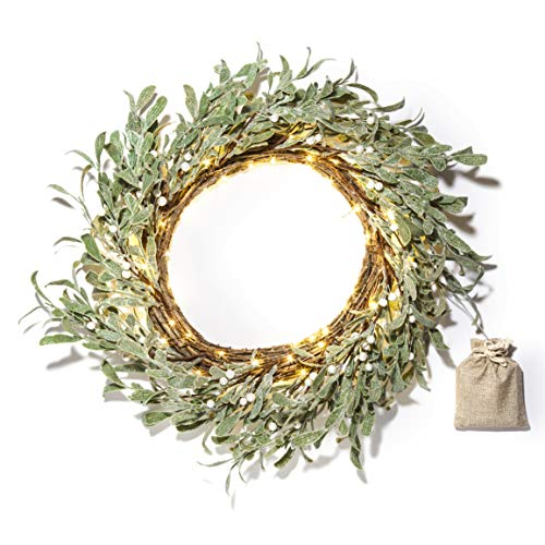LampLust Lighted Christmas Wreath, Red and Gold - 20 Inch, Primitive/Rustic Twig Base with Pip Berries, 75 White LED Lights, Battery Operated, Timer Included, Front Door or Holiday Mantle Decor