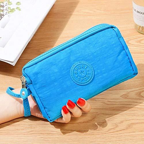 3 Reißverschlüsse Lady Geldbörsen Frauen Geldbörsen Clutch Coin Geldbörsen Karten Schlüssel Geld Taschen Leinwand KurzeMädchen Handtaschen-Light Blue