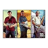 Póster de Grand Theft Auto V Game GTA 5 Michael. Franklin. Trevor. 1 póster de lona para decoración de dormitorio, paisaje, oficina, habitación, decoración de regalo, estilo Unframe-20 x 30 cm