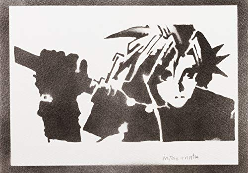 Final Fantasy Poster Cloud Strife Plakat Handmade Graffiti Street Art - Artwork