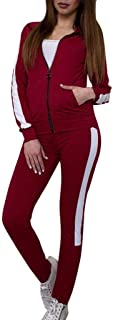 KAIXLIONLY Women Casual Stripe Pullover Sport Tops+Long Pants Set Casual Jogger Sweatsuit Tracksuit Sets with Zipper