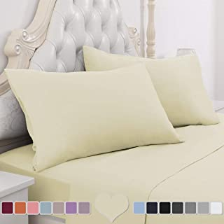HOMEIDEAS 4 Piece Bed Sheet Set (King, Pale Yellow) 100% Brushed Microfiber 1800 Bedding Sheets - Deep Pockets, Hypoallergenic, Wrinkle & Fade Resistant