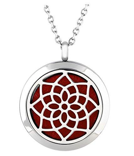 Jovivi Edelstahl Aromatherapie Ätherische Öle Diffusor Halskette Lotus Blume Floating Medaillon Locket Anhänger 6X Filz-Pads