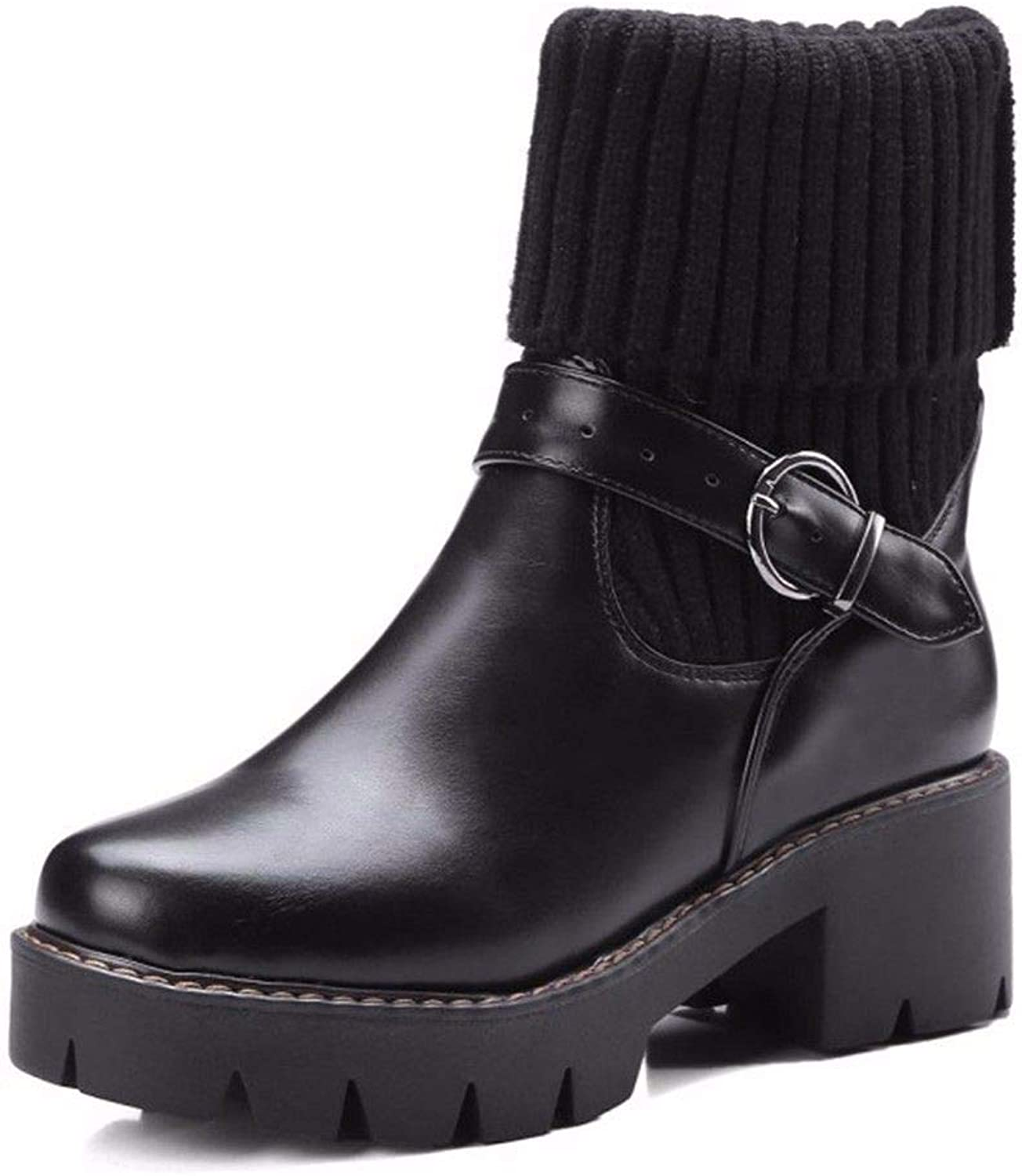 European and American Woolen Boots Tube Square Heel Thick Heel Round Head Big Code Female Short Boots