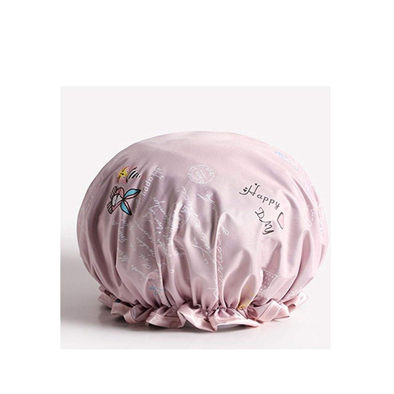 カレンダー霊何でもTYLDZ シャワーキャップ、防水大人の女性のシャワーキャップ、シャワーシャワーキャップ、シャンプーキャップ、かわいいスカーフ、台所の女性抗フードキャップ、 (Color : Pink)