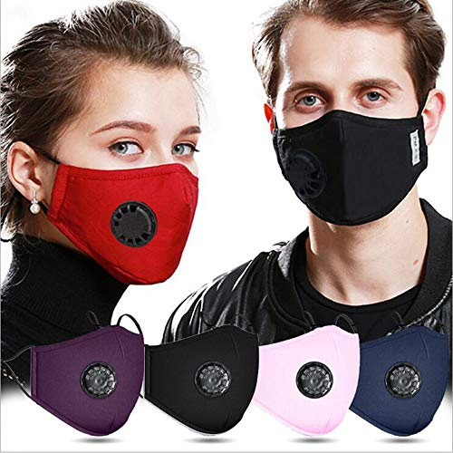4 PCS Cotton Face macks + 10 pcs Activated Carbon Filter Replaceable, with Breathing valve for Adults, Haze Dust Face Health Protectio, Reusable/Washable (adult)