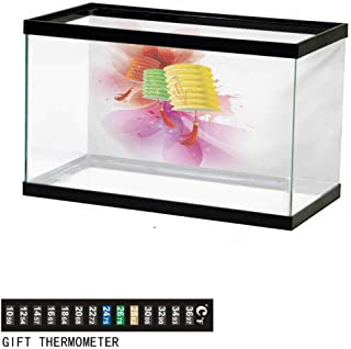 wwwhsl Aquarium Background,Lantern,Colorful Various Different Figures Framework Design with Crescent Moon and Stars,Multicolor Fish Tank Backdrop