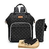 Multifunción pañal bolsa de pañales cambiador de viaje, gran capacidad mochila bolsa reutilizable, ligero elegante Durable Mochila con bolsillo botella aislante(Bodian Negro)