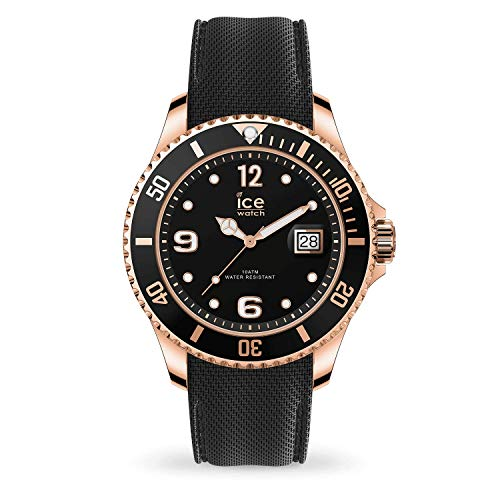 Ice-Watch - ICE steel Black Rose-Gold - Schwarze Herrenuhr mit Silikonarmband - 017327 (Extra large)