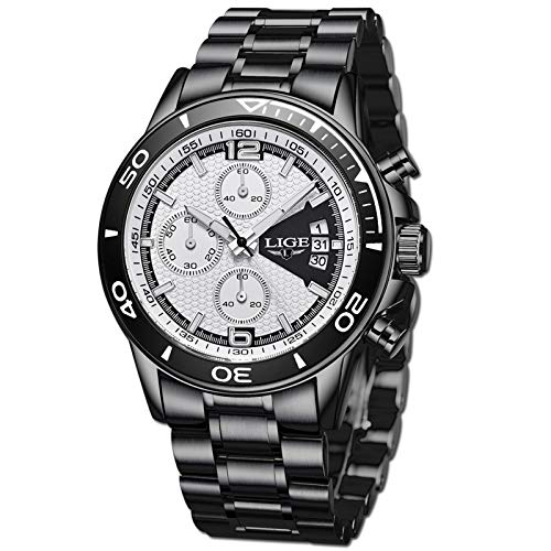 LIGE Relojes Hombre Moda Negro Analogicos Cuarzo Relojes Hombre Impermeable Acero Inoxidable Esfera Grande Relojes