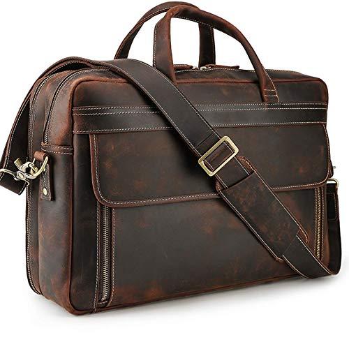 Vintage Genuine Leather Briefcase for Men 17 Inch Laptop Computer Case Business Travel Work Messenger Cross Body Shoulder Bags, Brown