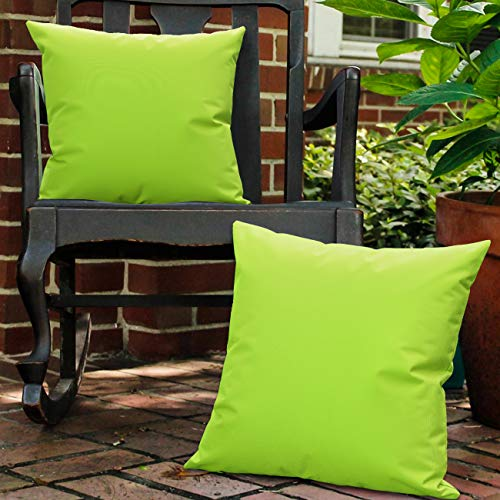 Lewondr Waterproof Outdoor Cushion Cover, 2 Pack Solid PU Coating Throw Pillow Case UV Protection Garden Cushion Cover for Patio Sofa Couch Balcony 18'x18'(45x45cm) - Fluorescent Green